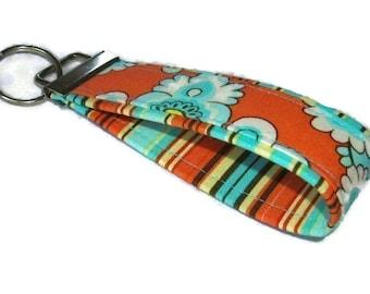 Fabric Key Fobs - Orange Belle N Oxford Stripe