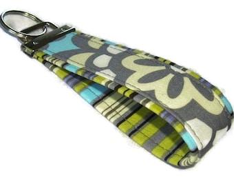 Fabric Key Fobs -  Fabric Keychain - Key Wristlet - Key Fob - Sky Wallflower N Oxford Stripe