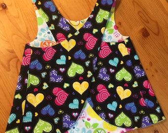 Pinafore Size 18M --- scattered hearts
