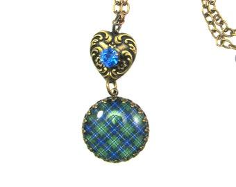 Scottish Tartan Jewelry Tartan Necklace Douglas Clan Tartan Crown Edge Bezel Fob Necklace w/Embossed Heart & Tiffany Set Sapphire Swarovski
