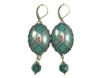 Scottish Tartan Jewelry Tartan Earrings Royal Stewart Green Tartan Earrings w/Jet Emerald Swarovski Crystal Beads