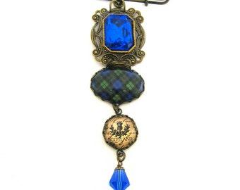 Scottish Tartan Jewelry - Black Watch Tartan Filigree Kilt Pin Brooch w/Thistle Charm & Sapphire Blue Czech Glass Gems