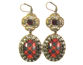 Scottish Tartan Jewelry Royal Stewart Clan Tartan Ornate Layered Filigree Earrings w/Tiffany Set Siam Red Czech Glass Gems