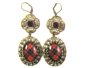 Scottish Tartan Jewelry Wallace Clan Tartan Ornate Layered Filigree Earrings w/Tiffany Set Siam Red Czech Glass Gems