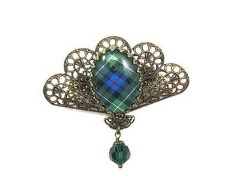 Scottish Tartan Jewelry MacKenzie Filigree Fan Brooch w/Emerald Swarovski Crystal Bead