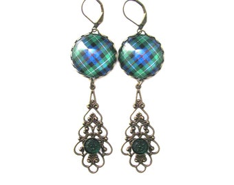 Scottish Tartan Jewelry Tartan Earrings MacKenzie Clan Tartan Ornate Filigree Drop Earrings w/Vintage Emerald Carved Czech Glass Gems