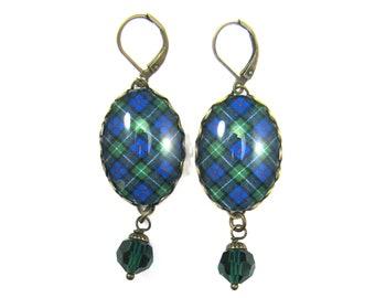 Scottish Tartan Jewelry Tartan Earrings MacKenzie Small Scale Clan Tartan Earrings w/Emerald Swarovski Crystal Beads