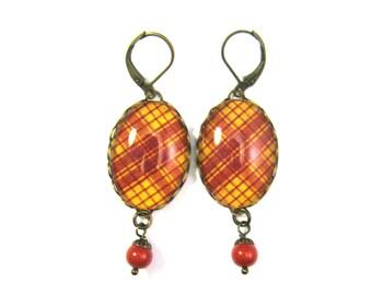 Scottish Tartan Jewelry Tartan Earrings MacMillan Ancient Tartan Earrings w/Coral Red Swarovski Crystal Pearls