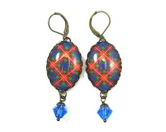 Scottish Tartan Jewelry Tartan Earrings Fraser Clan Tartan Earrings w/Sapphire Swarovski Crystal Beads
