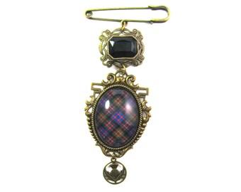 Scottish and Irish Tartan Jewelry - MacDonald Clan Tartan 40x30mm Kilt Pin Brooch w/Onyx Black Czech Glass Gem & Thistle Charm