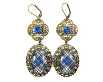 Scottish Tartan Jewelry Napier Clan Tartan Ornate Layered Filigree Earrings w/Tiffany Set Sapphire Blue Czech Glass Gems