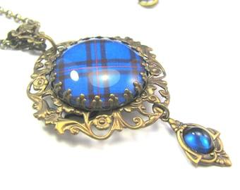 Scottish Tartan Jewelry Elliott Elliot Ornate Filigree Necklace w/Smooth Domed Czech Glass Corinthian Gem