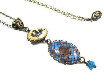 Scottish Tartan Jewelry Tartan Necklace Anderson Tartan Necklace w/Thistle Charm & Carribbean Swarovski Crystal