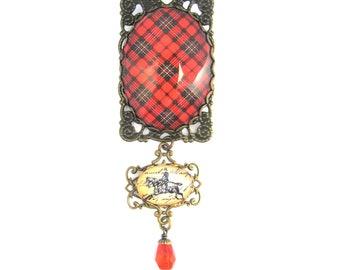 Scottish Tartan Jewelry Scott Ancient Clan Tartan Fancy Filigree Brooch w/Equestrian Charm & Scarlet Czech Glass Teardrop Bead