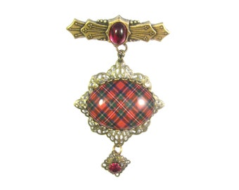 Scottish Tartan Jewelry Tartan Brooch Taylor Sweet Bow Brooch wThistle Charm /& Faceted Amethyst Czech Crystal Bead
