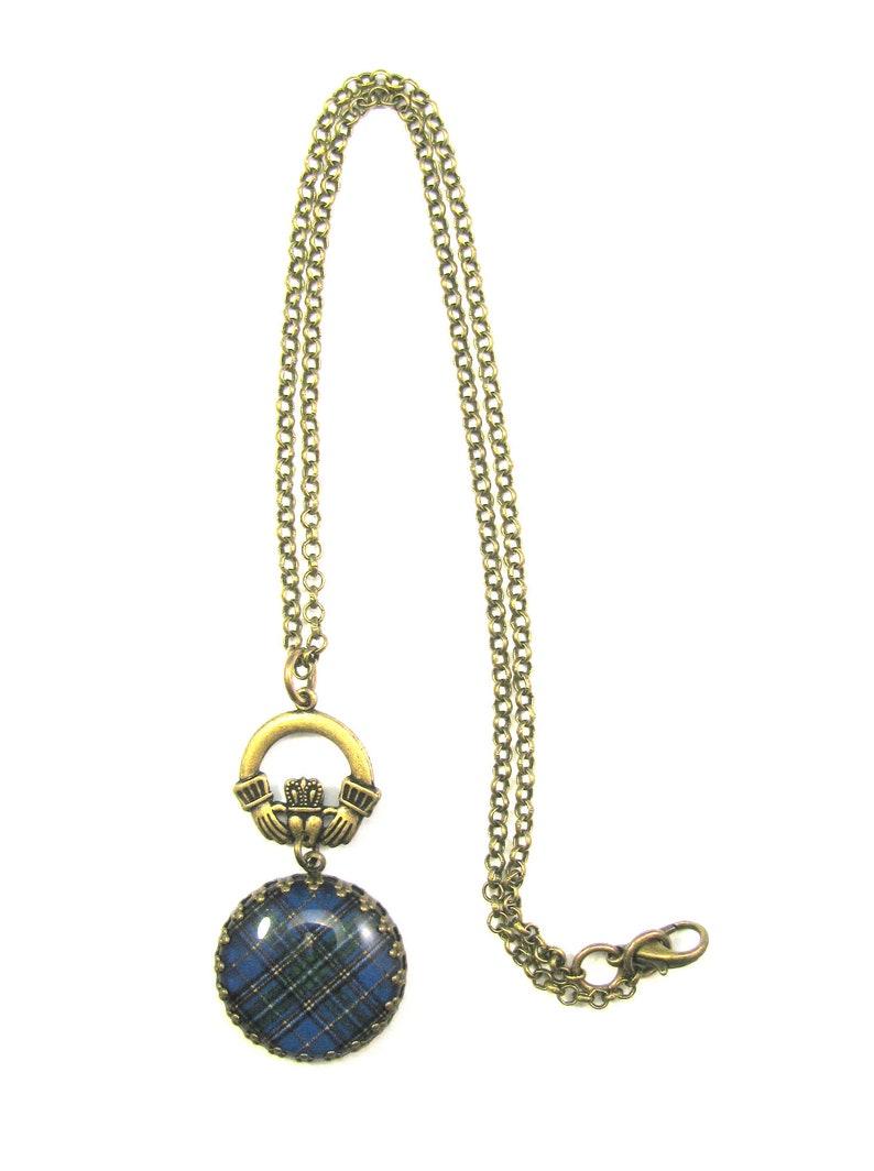 Irish Tartan Jewelry Tartan Necklace Sheehan Clan Tartan Crown Edge Bezel Fob Necklace wCladdagh Bail on 18 Rolo Chain