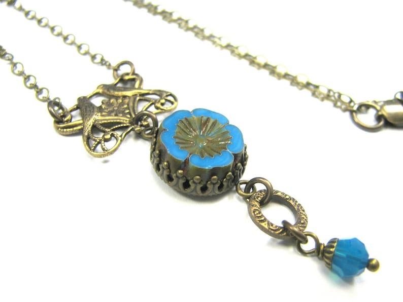 SALE Boho Jewelry Boho Necklace Boho Bohemian Inspired Czech Glass Collection  Claudette Necklace Cerulean Blue Turquoise Aqua Love Birds