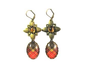 Scottish Tartan Jewelry Buchanan Weathered Old Sett Tartan Quatre Charm Earrings w/Smooth Domed Topaz Czech Glass Gems