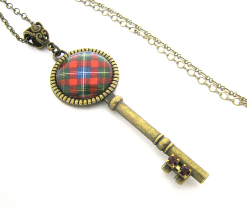 Scottish and Irish Tartan Jewelry Forrester Clan Tartan Key Necklace  Studded with Dark Siam Red Czech Glass Rhinestones and Celtic Bail