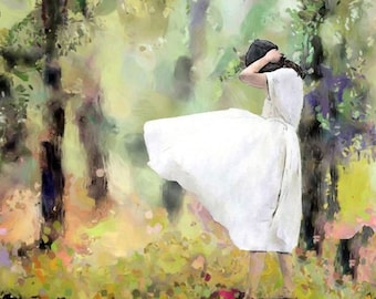 WomanPortraitBotanicalNatureLandscapeIllustrationPaintingGicleePrint PhotomontageCollageMixedMediaDigitaArtlPrints HomeOfficeDécorWallArt