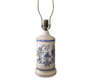 Vintage ceramic lamp hand-painted blue and white floral