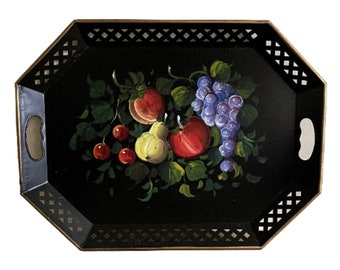 Vintage Nashco black tole tray, fruit design, reticulated edge, gold rim