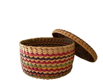 Vintage hand woven straw basket with lid, colorful