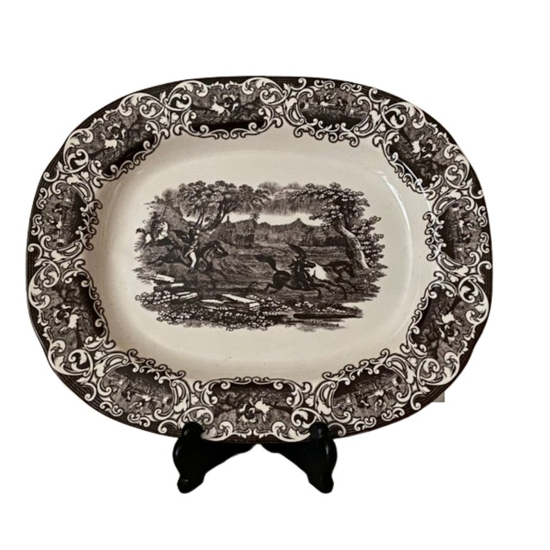 Twos Company brown transferware oval serving platter image 0