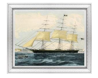 vintage ship ocean painting , nautical wall art, seascape printable, clipper ship artwork #157, DIGITAL DOWNLOAD