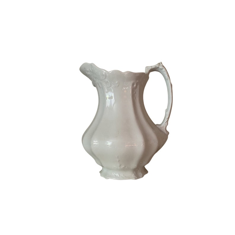 Vintage large white Ironstone pitcher Johnson Bros image 0