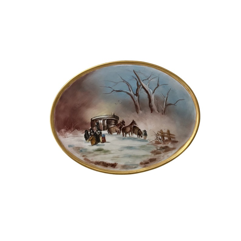 Handpainted ceramic and gold tray Bavaria W. Germany Gerold image 0