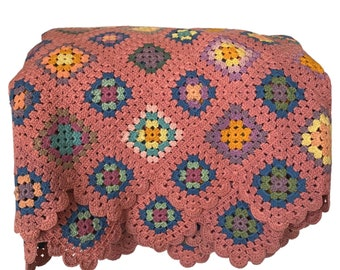 Vintage Handmade crochet dark pink with multicolor granny squares blanket