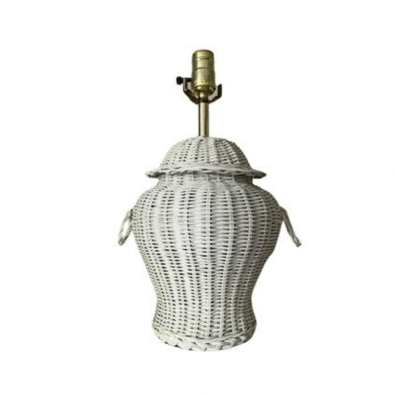 White wicker table lamp ginger jar style image 0