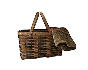 vintage Franklin Cane Sugar split oak woven basket with handles
