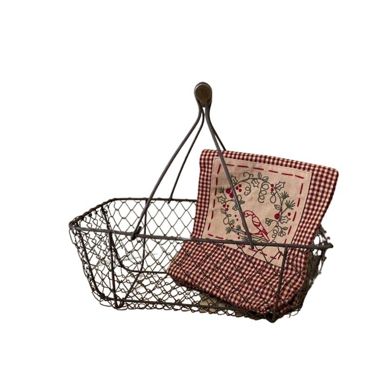 Vintage French wire garden basket farm basket egg basket image 0