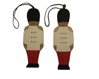 Vintage Christmas ornaments, flat wood soldier pair