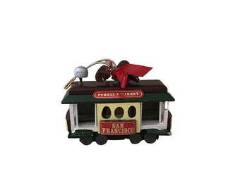 Vintage Christmas ornament, San Francisco cable car, made in Taiwan