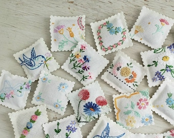 5 LAVENDER SACHETS Embroidered Vintage Textiles FREE Shipping