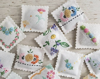 3 LAVENDER SACHET Embroidered Vintage Textiles FREE Shipping