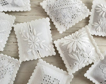10 LAVENDER SACHETS Embroidered Vintage Textiles FREE Shipping