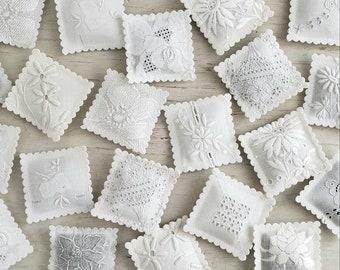 3 LAVENDER SACHETS Embroidered White-On-White Vintage Textiles FREE Shipping