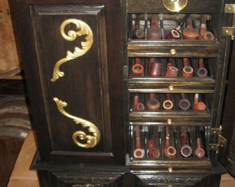 Antique Style Pipe Cabinet Rack Display Pipe Carousel Cabinet 500D2