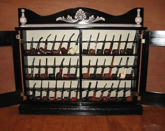 Pipe rack cabinet 42 Pipe Rack Display Cabinet Antique Style Item 190A