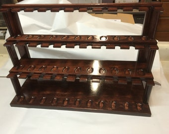 Pipe Rack Pipe stand Smoking Tobacco Pipe Rack 33 Pipes Custom top slot design  Item  120HG