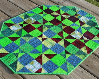 Quilted Table Runner Topper Spinning Nines in Hand Dyed Lime Greens, Blues, Burgundy Purples, and Forest Greens