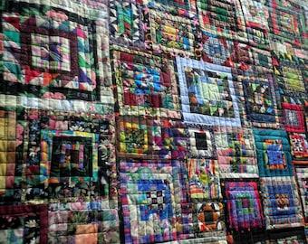 Heirloom Lap Quilt, Throw Blanket Scrappy Orphan Block Squares