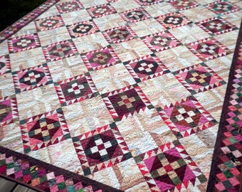 Patchwork Bed Quilt , Lap, Twin, or Full, Heirloom, Scrappy, Cream, Fuchsia, Green, Brown - Roll, Roll Cotton Boll - FREE SHIPPING