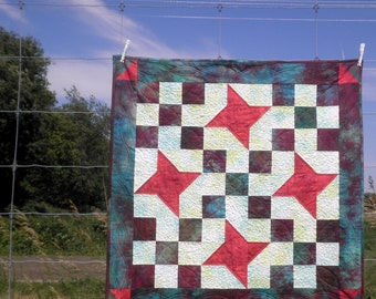Patchwork Table Topper, Quilted Wall Hanging, Modern Holiday Starry Nines Hand Dyed