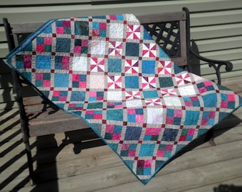 Patchwork Lap Quilt, Throw Blanket, Heirloom, Grey, Turquoise Pink,  Baffled in Belmont- FREE SHIPPING
