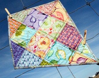 Quilted Wall Art, Let's Go Fly a Kite, Whimsy, Watercolor Beauty